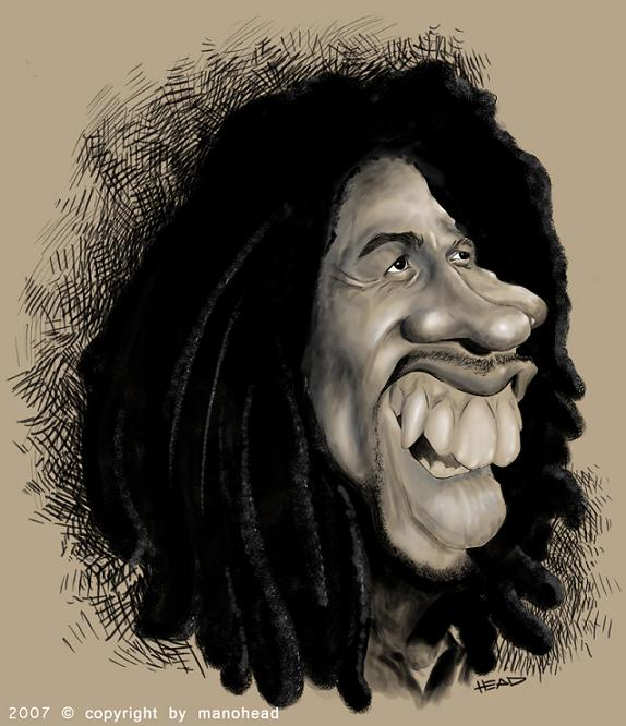 caricaturas bob marley: