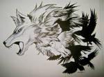 wolf-birds fusion tattoo final