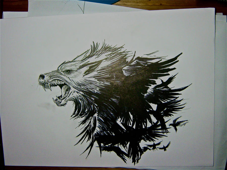 Wolf crows tattoo version 2 by THETROLLESQUE on DeviantArt