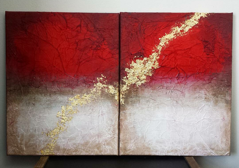 red white gold leaf by TheJennaBrown