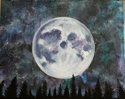 Original Acrylic The Moon Overlooking the Forest