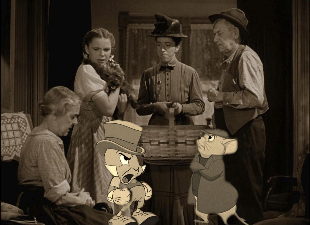 Jiminy Cricket and Bernard gets mad at Miss Gulch by