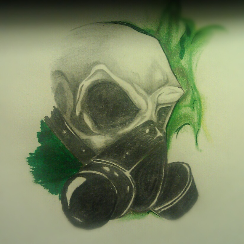 Skull with gas mask by angelo10c