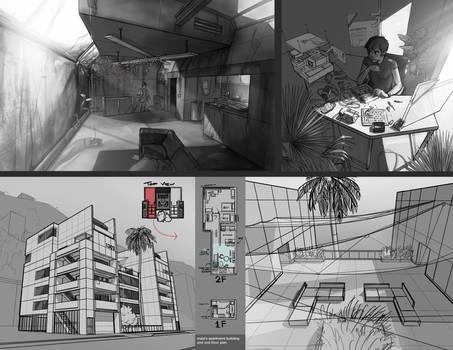 Maia's Apartment, Sketches