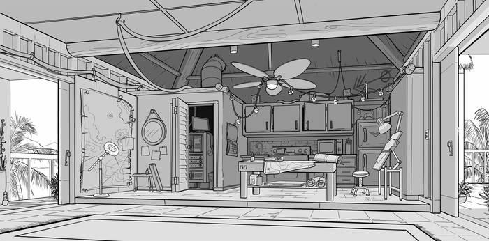 Background Layout: Cartographer's Kitchen