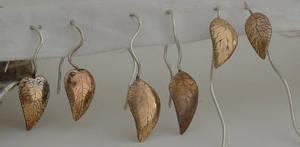 Copper + silver leaf earrings