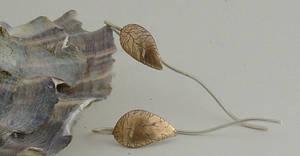 Cu+Ag leaf earrings I