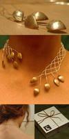 Celtic copper leaf necklace