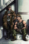 Grey Fox and Solid Snake