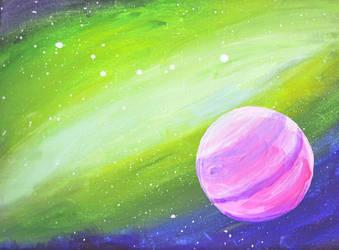 green nebula, pink planet by Roseprincess1