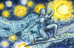 Silver Surfer in a Starry Night by AfizethArt