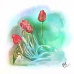 Tulips: Digital Watercolour