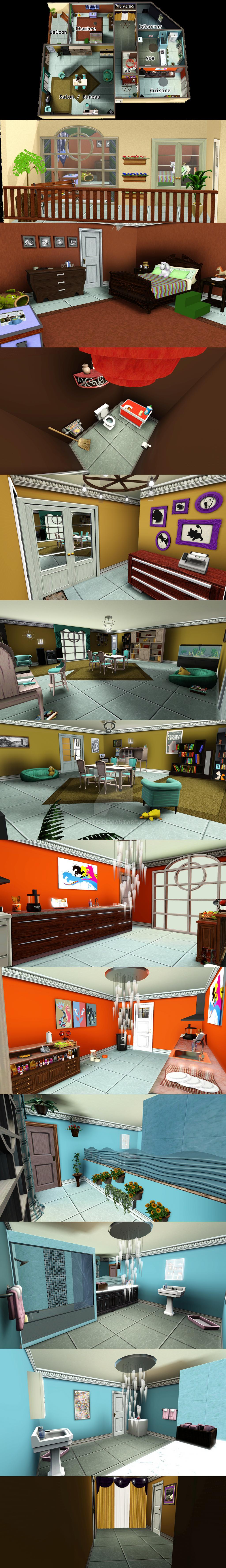 Appartement réalisée sur le jeu Sims 3