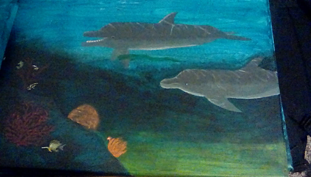 Bottlenose dolphin painting by TheCrowAtMidnight