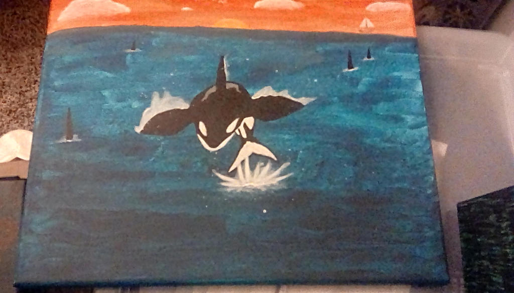 Orca jumping painting by TheCrowAtMidnight