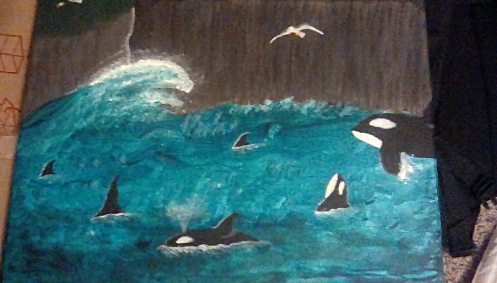 Orca family painting by TheCrowAtMidnight