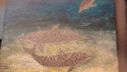 Atlantic spotted dolphin family painting by TheCrowAtMidnight