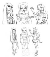 Mi fav ghouls! :lineart: by Lucia-Conchita