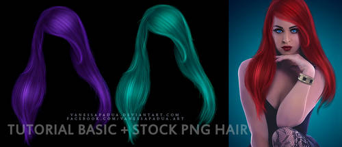 PSD Tutorial Basic Hair + Stock PNG Hair by VanessaPadua