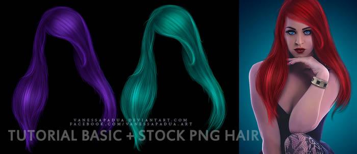 PSD Tutorial Basic Hair + Stock PNG Hair