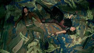 Ivana Baquero and Poppy Drayton Unconscious