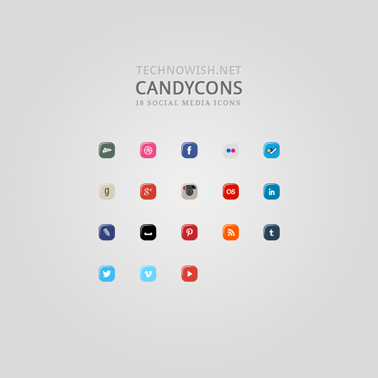 Free Social Icons: Candycons by technowish