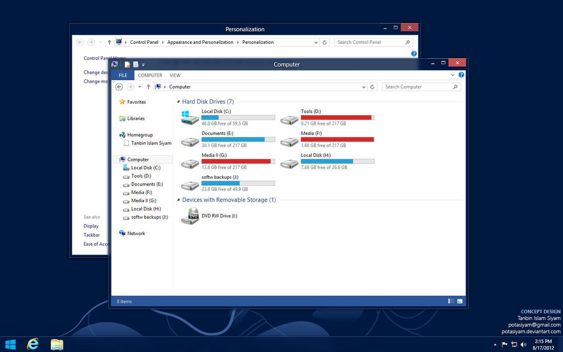 Gmail metro theme - Windows 8 Desktop Theme Concept By Potasiyam