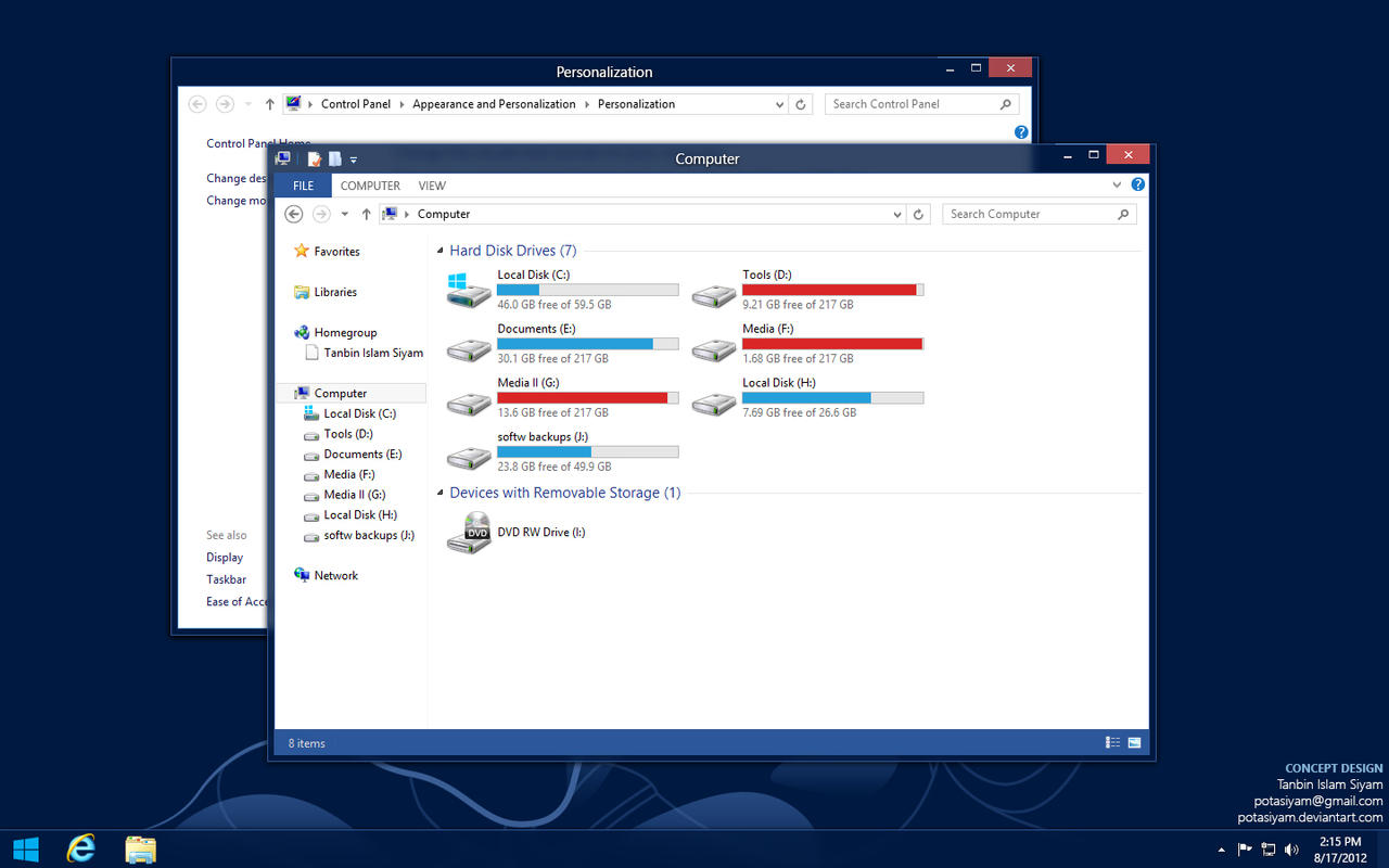 Windows 8 Desktop Theme Concept by potasiyam