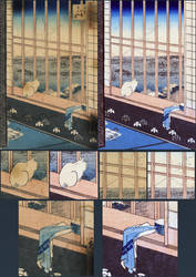 Restoration of Prints in Japanese wallpaper series by city17