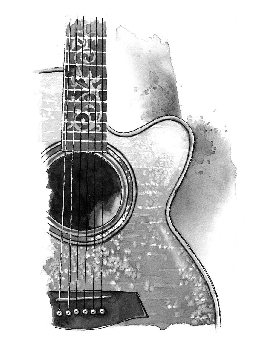 acoustic guitar by asquick traditional art drawings other 2011 2015    Acoustic Guitar Drawing Tattoo