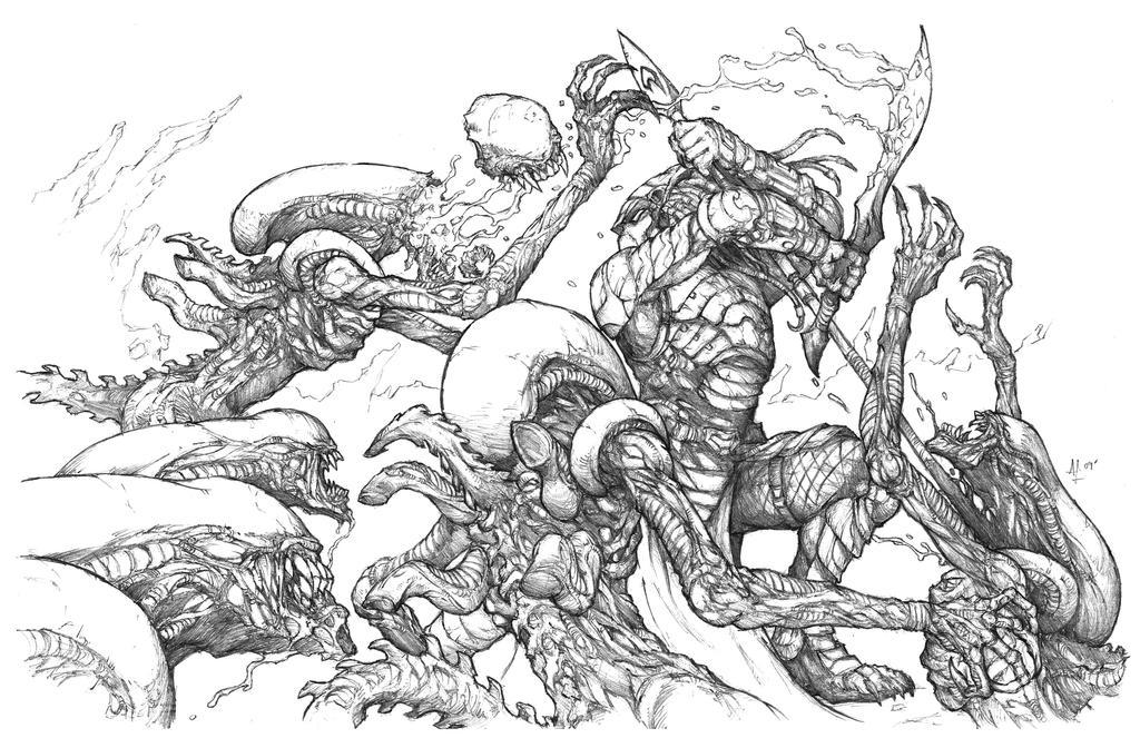 Predator vs Aliens by alo4477