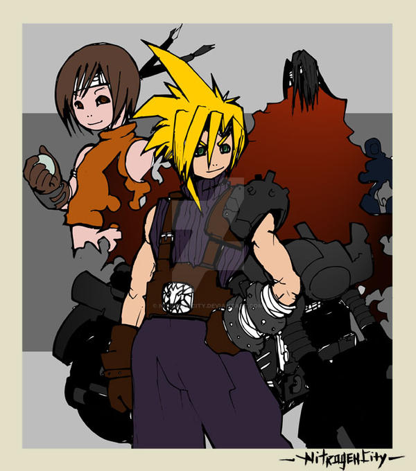 Cloud, Yuffie and Vincent by NitrogenCity