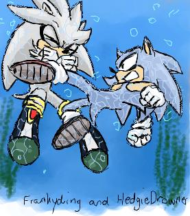 Silver Vs Sonic Underwater By Frankyding90 On Deviantart