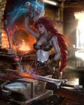 Titania Forging HOT! from Fire Emblem