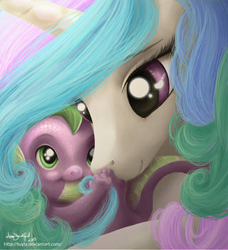 Commission - Princess Celestia with baby Spike by PaintedHoofprints