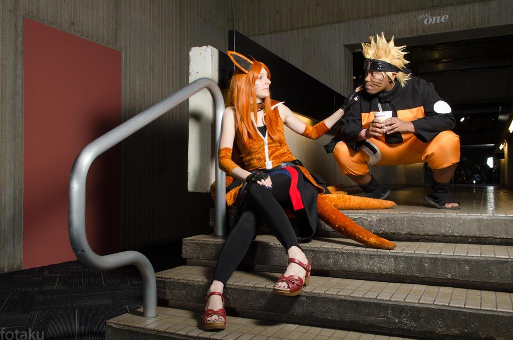 Kurama and Naruto by roxastuskiomi