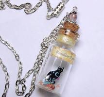 Black cat Halloween bottle pendant