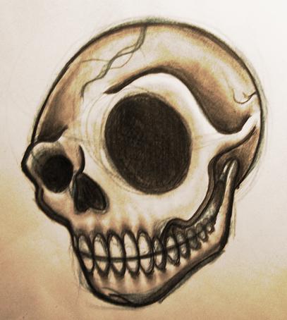 Skull sketch by jerrrroen