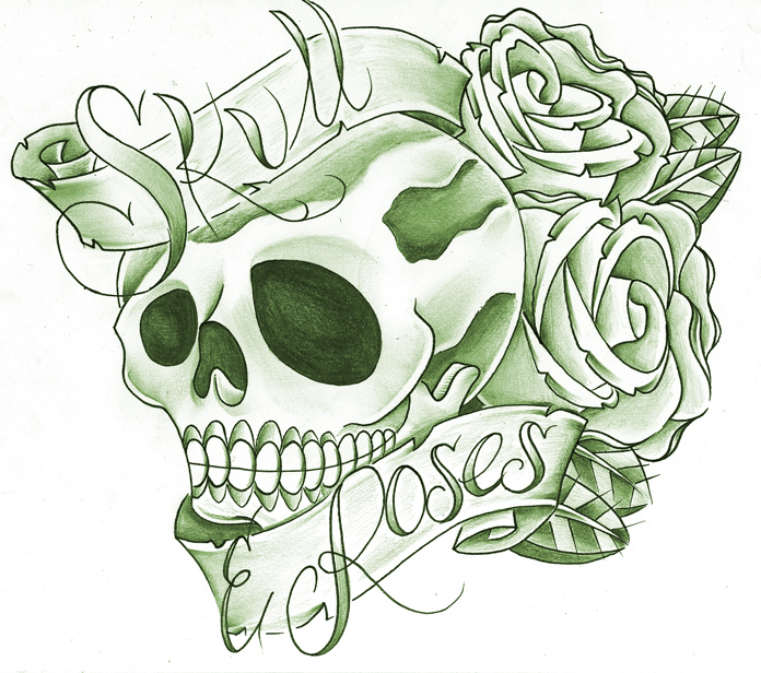 roses with banner drawing