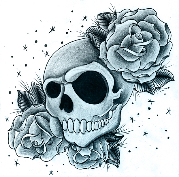 Roses with skull by jerrrroen