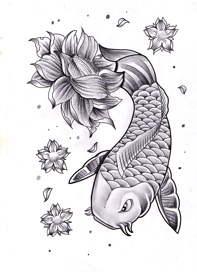 Koi with Lotus by jerrrroen
