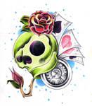 Skull, clock and roses