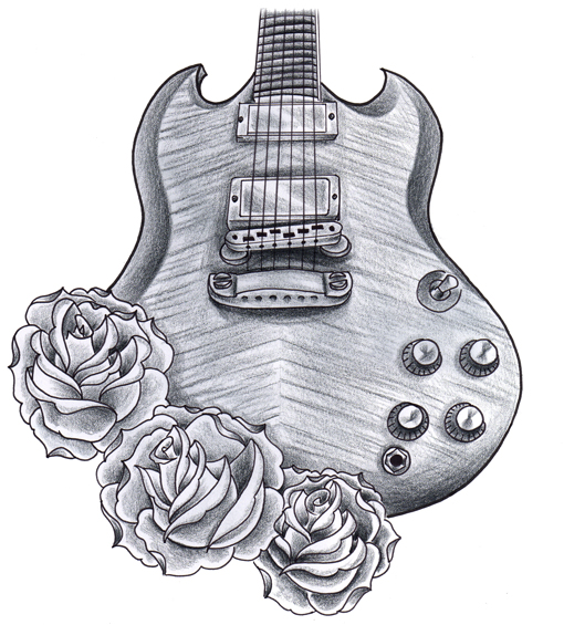 gibson sg with roses by jerrrroen on deviantart. Black Bedroom Furniture Sets. Home Design Ideas