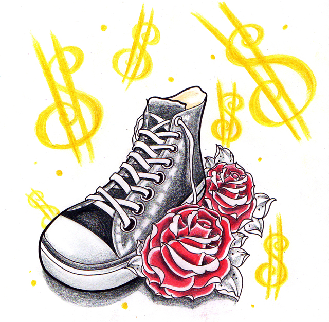 converse all stars with roses by jerrrroen on deviantart. Black Bedroom Furniture Sets. Home Design Ideas