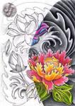 Lotus Peony Rose half half