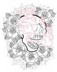 Flaming skull halfsleeve lines