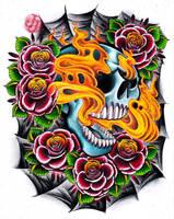 Flaming skull leg design by jerrrroen