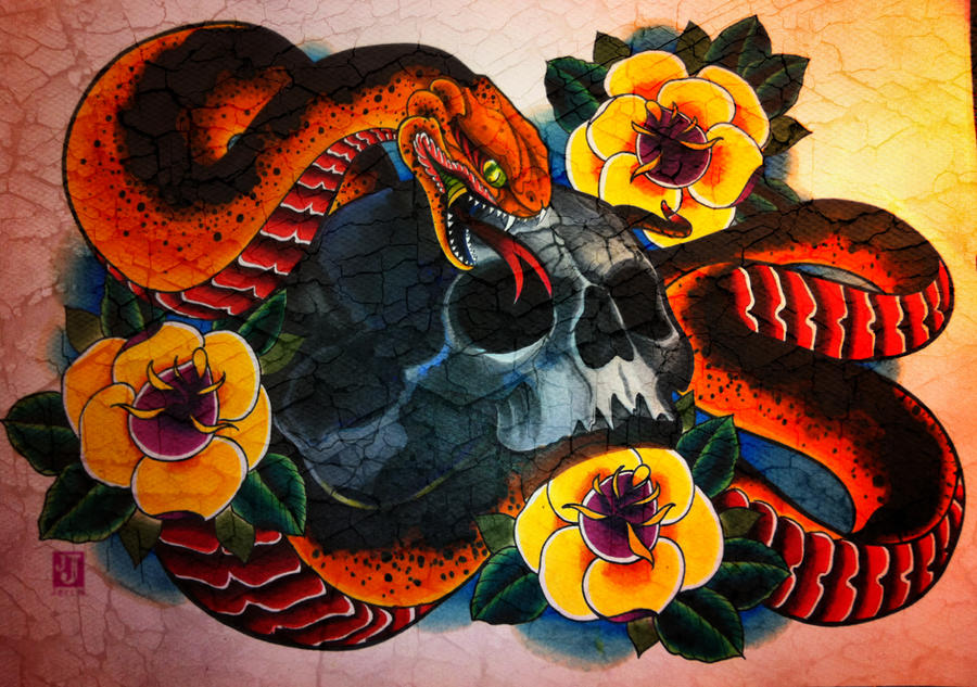 Skull and snake and roses 1 by jerrrroen