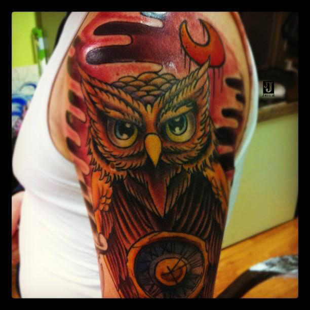 Owl tattoo by jerrrroen