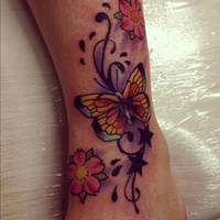 Coverup butterfly on foot by jerrrroen